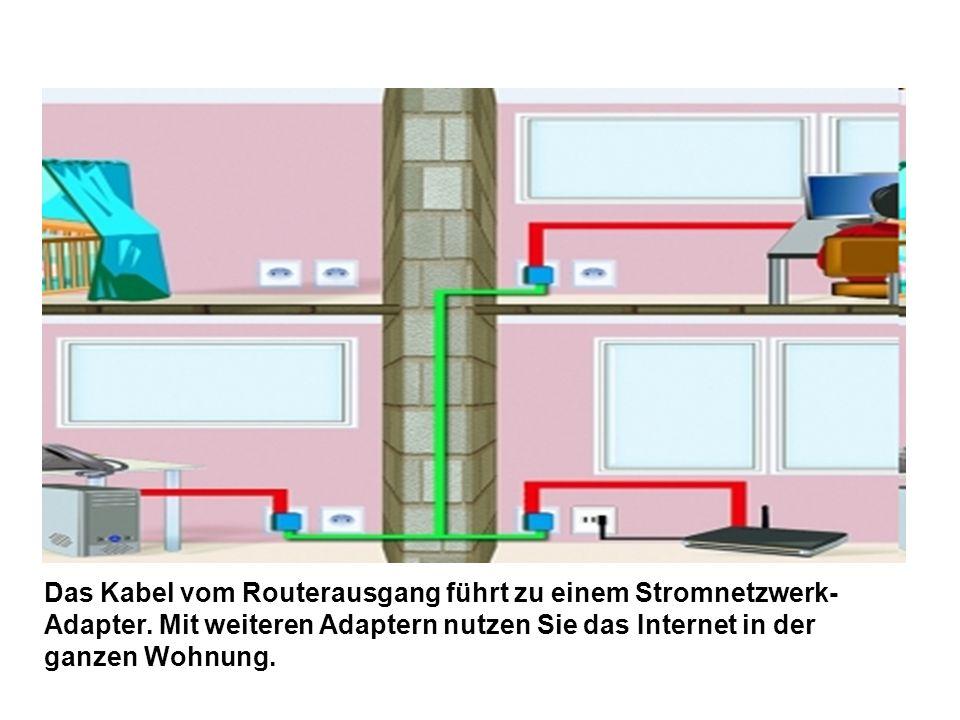 Das Kabel vom Routerausgang führt zu einem Stromnetzwerk- Adapter. Mit weiteren Adaptern nutzen Sie das Internet in der ganzen Wohnung.
