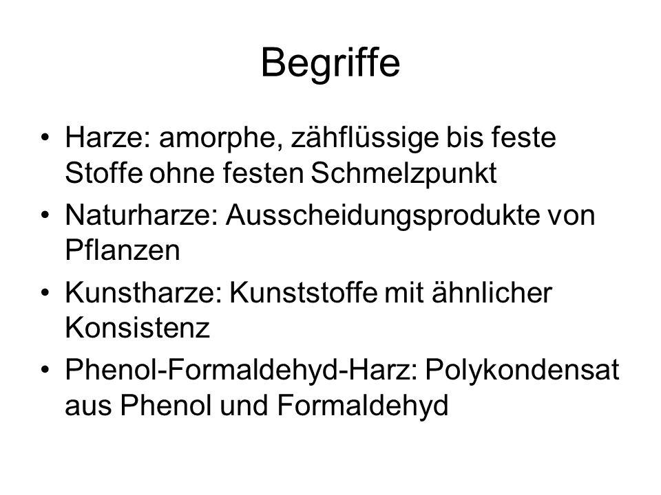 Begriffe Harze: amorphe, zähflüssige bis feste Stoffe ohne festen Schmelzpunkt Naturharze: Ausscheidungsprodukte von Pflanzen Kunstharze: Kunststoffe