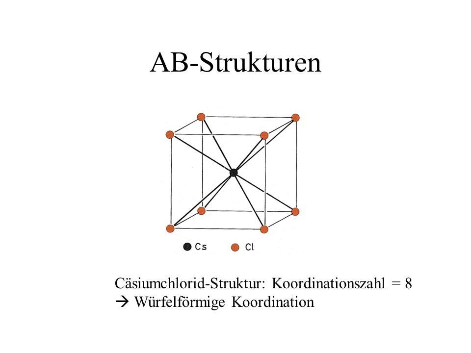 AB-Strukturen Cäsiumchlorid-Struktur: Koordinationszahl = 8 Würfelförmige Koordination
