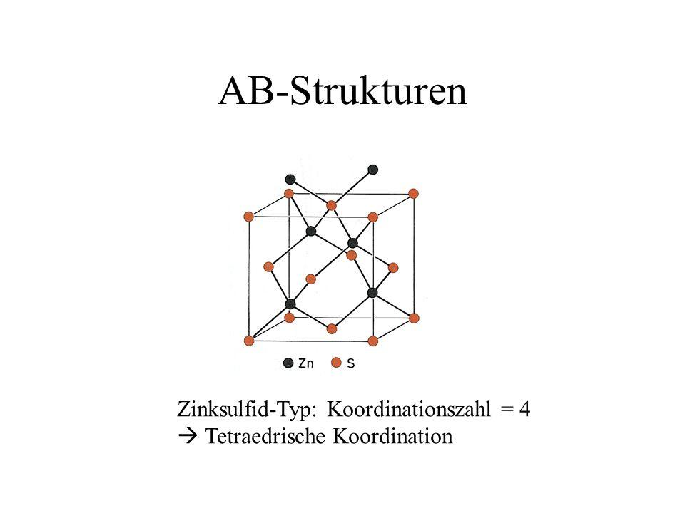 AB-Strukturen Zinksulfid-Typ: Koordinationszahl = 4 Tetraedrische Koordination