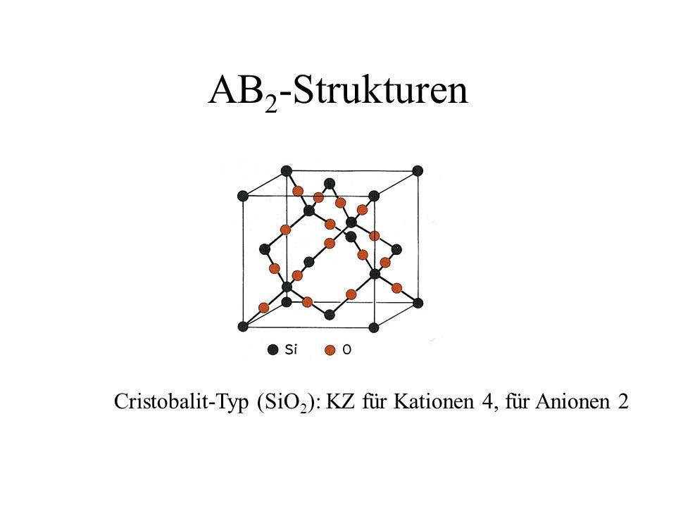 AB 2 -Strukturen Cristobalit-Typ (SiO 2 ): KZ für Kationen 4, für Anionen 2
