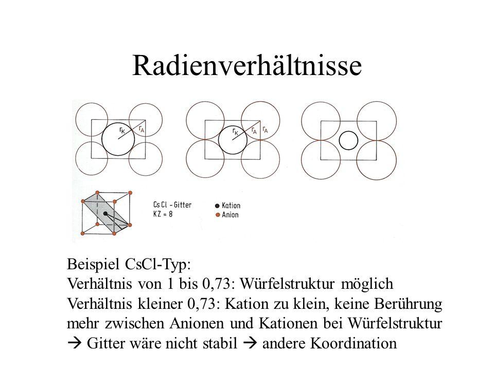 Radienverhältnisse Beispiel CsCl-Typ: Verhältnis von 1 bis 0,73: Würfelstruktur möglich Verhältnis kleiner 0,73: Kation zu klein, keine Berührung mehr