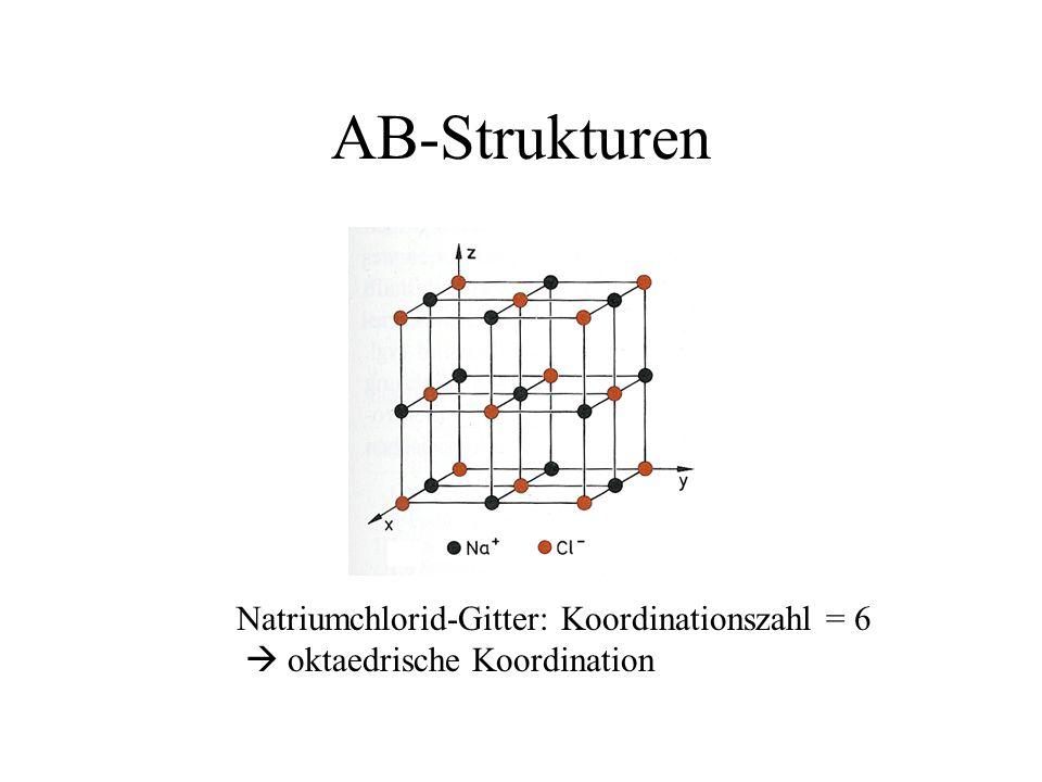 AB-Strukturen Natriumchlorid-Gitter: Koordinationszahl = 6 oktaedrische Koordination