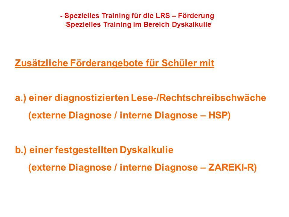 Zusätzliche Förderangebote für Schüler mit a.) einer diagnostizierten Lese-/Rechtschreibschwäche (externe Diagnose / interne Diagnose – HSP) b.) einer