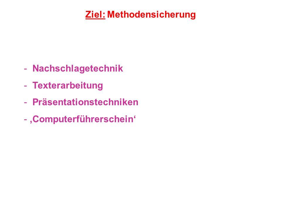 Ziel: Methodensicherung - Nachschlagetechnik - Texterarbeitung - Präsentationstechniken - Computerführerschein