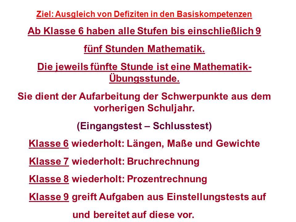 Ziel: Ausgleich von Defiziten in den Basiskompetenzen Ab Klasse 6 haben alle Stufen bis einschließlich 9 fünf Stunden Mathematik. Die jeweils fünfte S