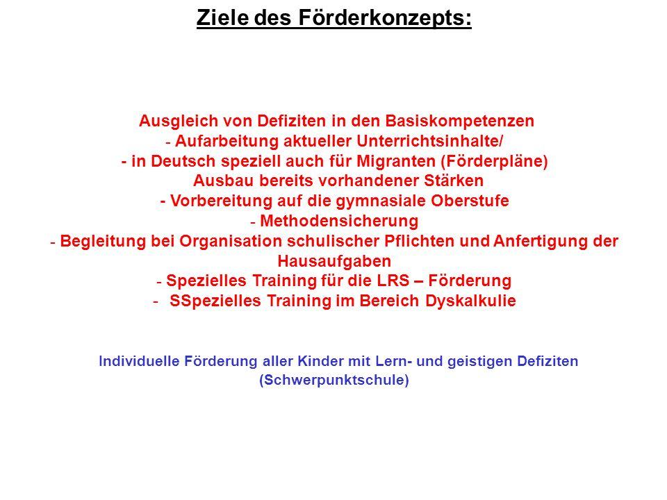 Ziele des Förderkonzepts: Ausgleich von Defiziten in den Basiskompetenzen - Aufarbeitung aktueller Unterrichtsinhalte/ - in Deutsch speziell auch für