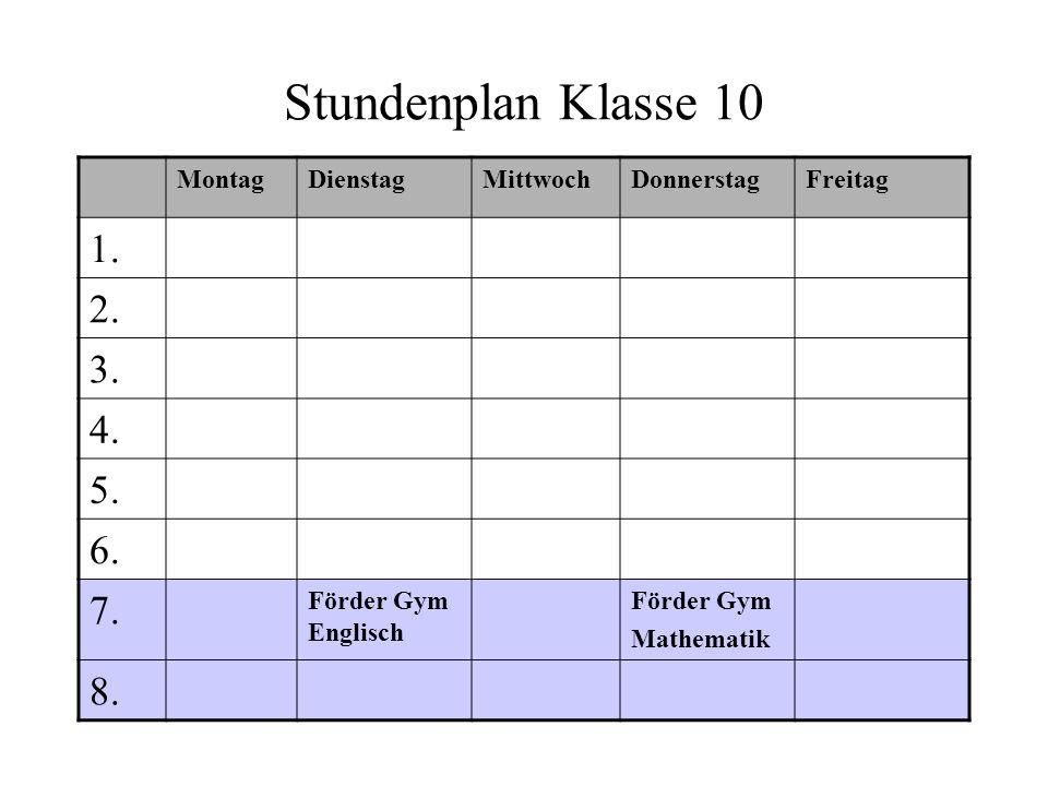 Stundenplan Klasse 10 MontagDienstagMittwochDonnerstagFreitag 1. 2. 3. 4. 5. 6. 7. Förder Gym Englisch Förder Gym Mathematik 8.