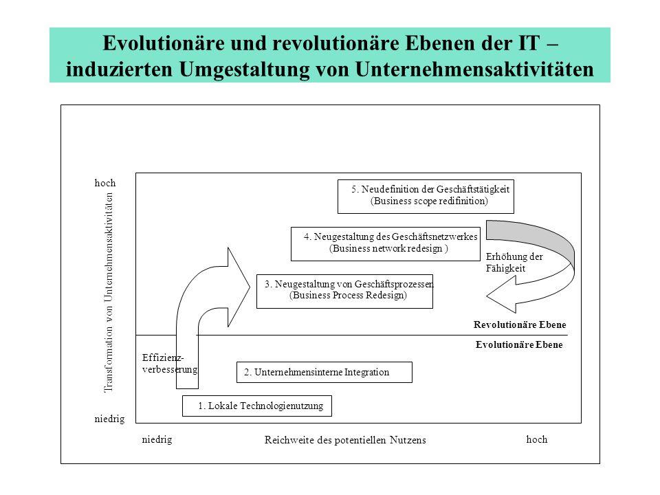 Evolutionäre und revolutionäre Ebenen der IT – induzierten Umgestaltung von Unternehmensaktivitäten hoch niedrig Transformation von Unternehmensaktivi