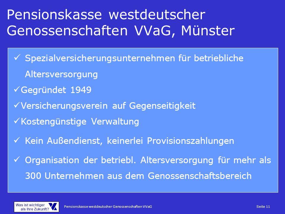 Pensionskasse westdeutscher Genossenschaften VVaGSeite 11 Was ist wichtiger als Ihre Zukunft? Pensionskasse westdeutscher Genossenschaften VVaG, Münst