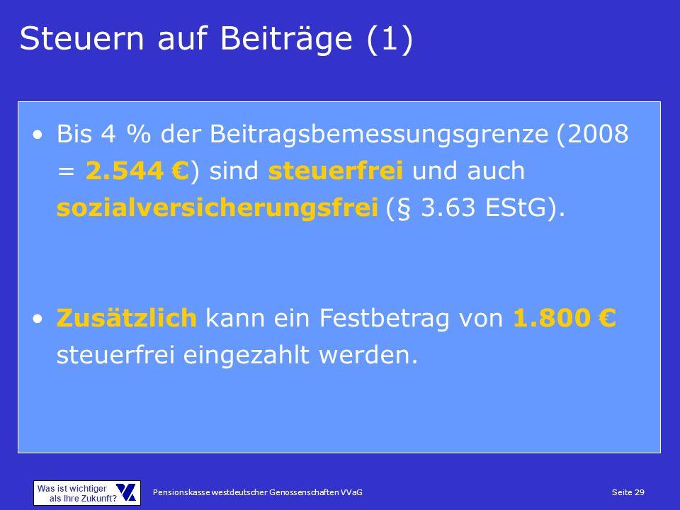 Pensionskasse westdeutscher Genossenschaften VVaGSeite 29 Was ist wichtiger als Ihre Zukunft? Steuern auf Beiträge (1) Bis 4 % der Beitragsbemessungsg