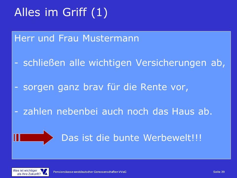 Pensionskasse westdeutscher Genossenschaften VVaGSeite 39 Was ist wichtiger als Ihre Zukunft? Alles im Griff (1) Herr und Frau Mustermann -schließen a