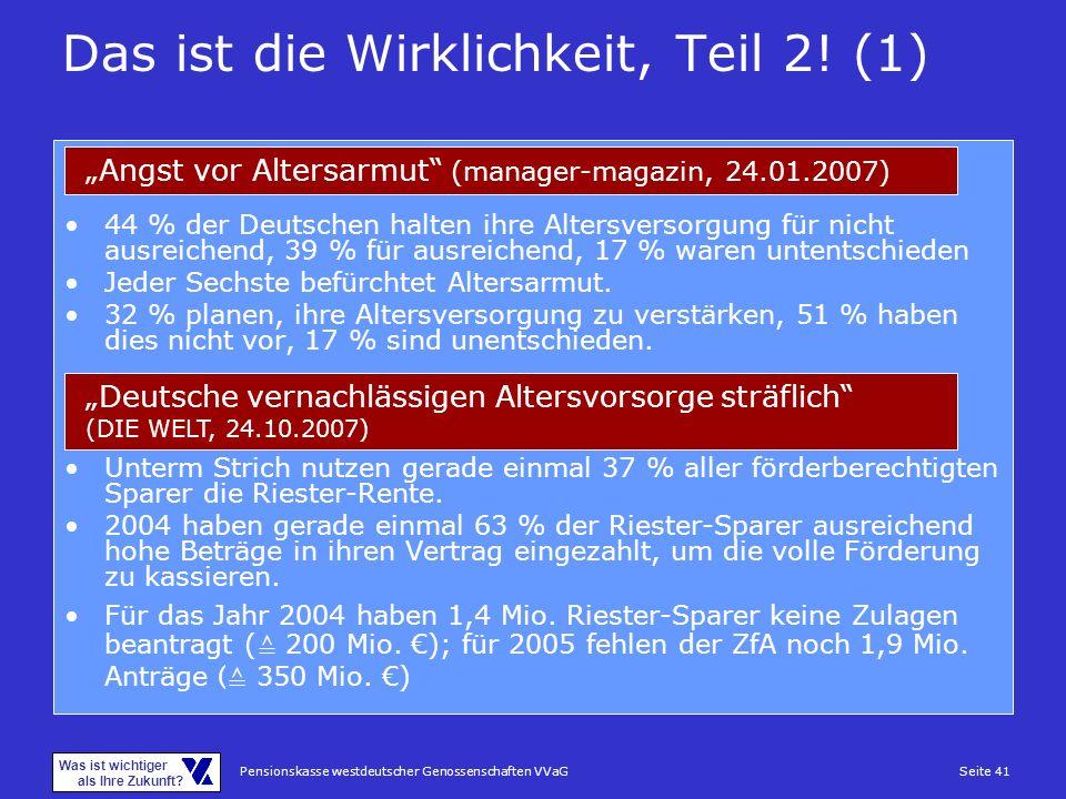Pensionskasse westdeutscher Genossenschaften VVaGSeite 41 Was ist wichtiger als Ihre Zukunft? 44 % der Deutschen halten ihre Altersversorgung für nich