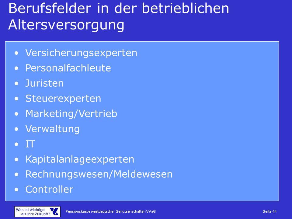 Pensionskasse westdeutscher Genossenschaften VVaGSeite 44 Was ist wichtiger als Ihre Zukunft? Berufsfelder in der betrieblichen Altersversorgung Versi