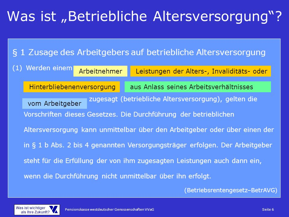 Pensionskasse westdeutscher Genossenschaften VVaGSeite 6 Was ist wichtiger als Ihre Zukunft? Was ist Betriebliche Altersversorgung? § 1 Zusage des Arb