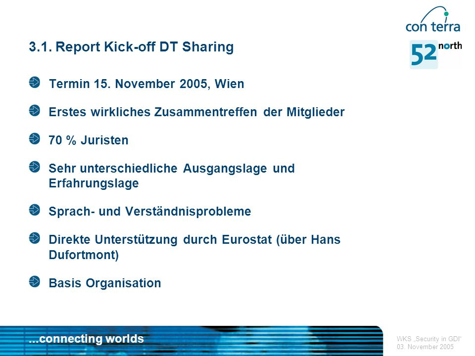 ...connecting worlds WKS Security in GDI 03. November 2005 3.1.