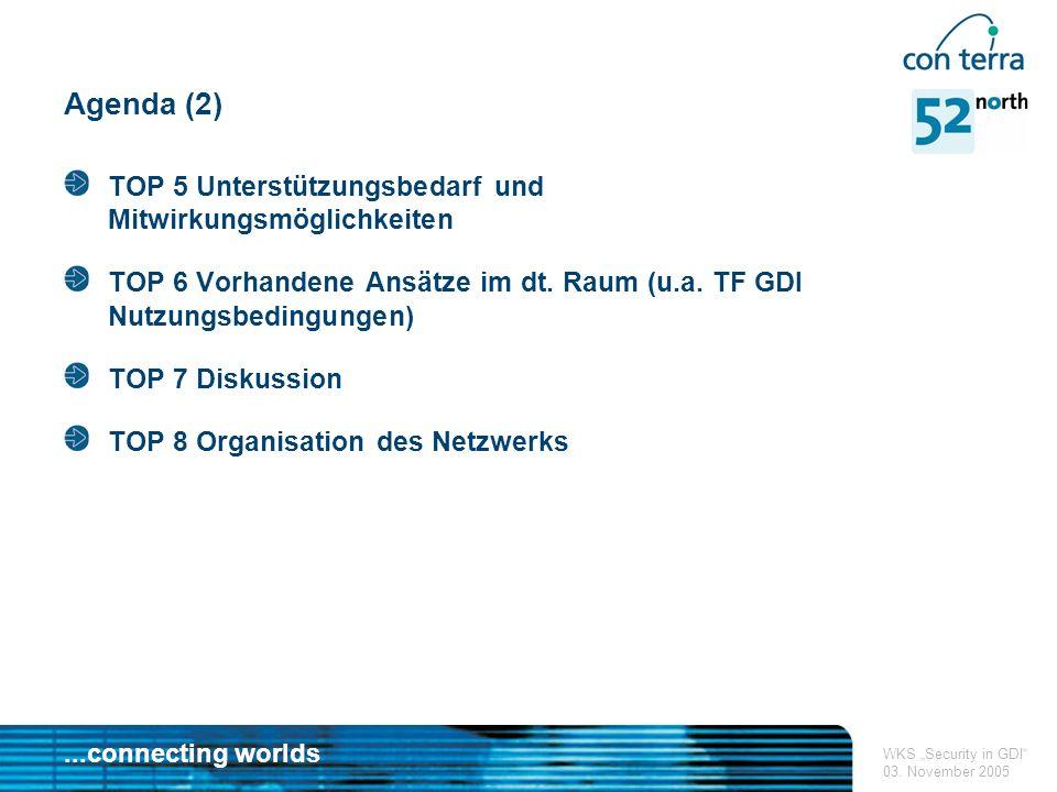 ...connecting worlds WKS Security in GDI 03.November 2005 TOP 1 Begrüßung 11:00 bis ca.