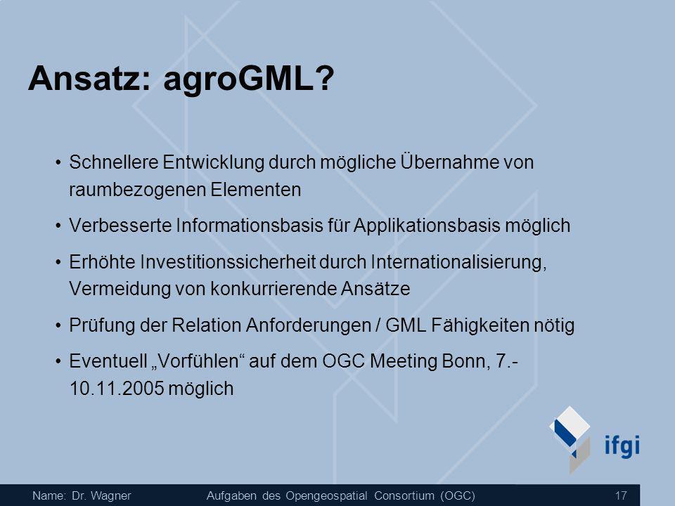Name: Dr. WagnerAufgaben des Opengeospatial Consortium (OGC) 17 Ansatz: agroGML? Schnellere Entwicklung durch mögliche Übernahme von raumbezogenen Ele