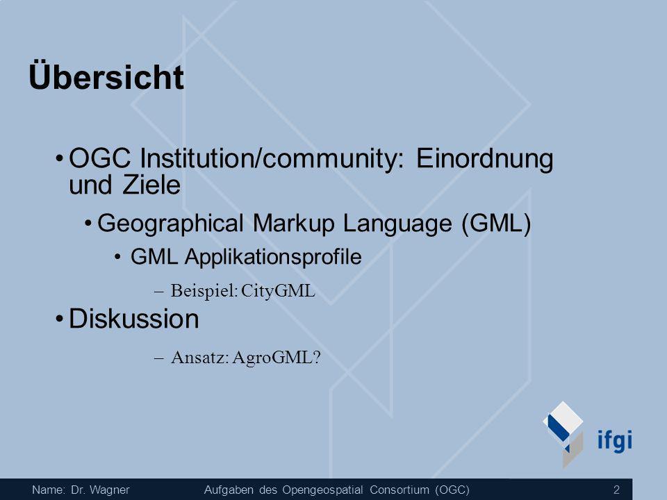 Name: Dr. WagnerAufgaben des Opengeospatial Consortium (OGC) 2 Übersicht OGC Institution/community: Einordnung und Ziele Geographical Markup Language