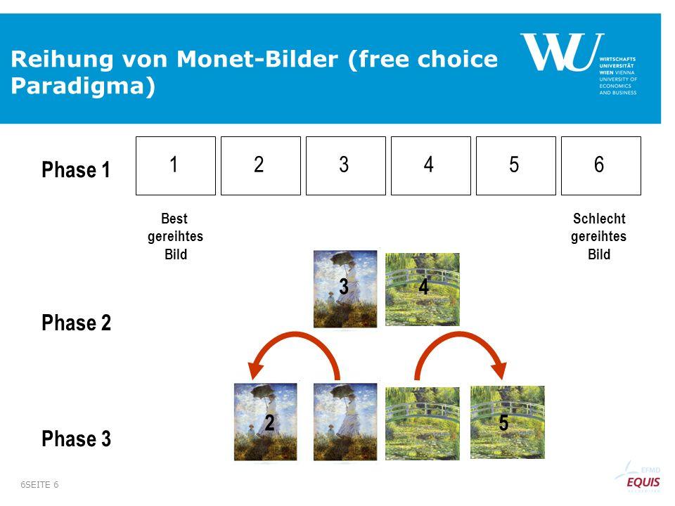 SEITE 6 6 Reihung von Monet-Bilder (free choice Paradigma) 1 1 11 2 3 4 5 6 Best gereihtes Bild Schlecht gereihtes Bild Phase 1 Phase 2 Phase 3 3 4 25