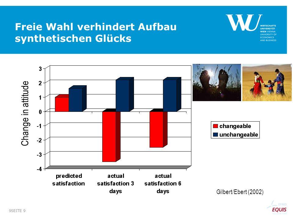 SEITE 9 9 Freie Wahl verhindert Aufbau synthetischen Glücks Change in attitude Gilbert/Ebert (2002)