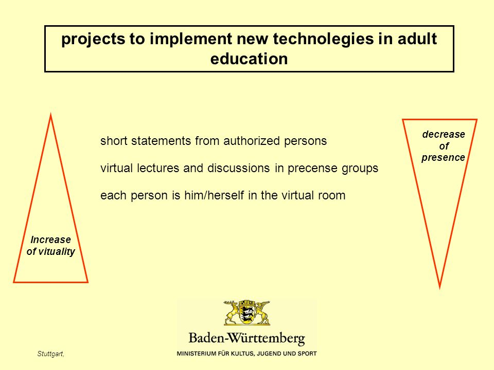 Stuttgart, projects to implement new technolegies in adult education Increase of vituality decrease of presence short statements from authorized persons virtual lectures and discussions in precense groups each person is him/herself in the virtual room
