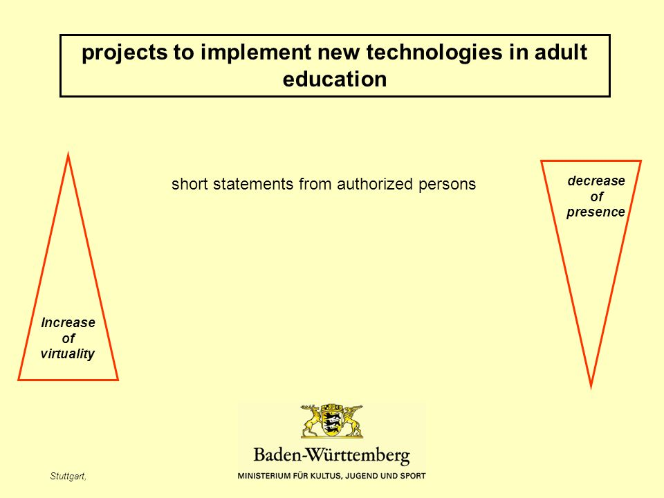 Stuttgart, projects to implement new technologies in adult education Increase of virtuality decrease of presence short statements from authorized pers