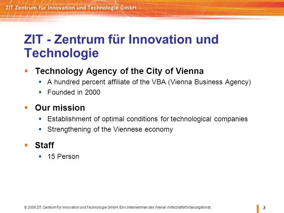 © 2006 ZIT Zentrum für Innovation und Technologie GmbH. Ein Unternehmen des Wiener Wirtschaftsförderungsfonds. 2 ZIT - Zentrum für Innovation und Tech