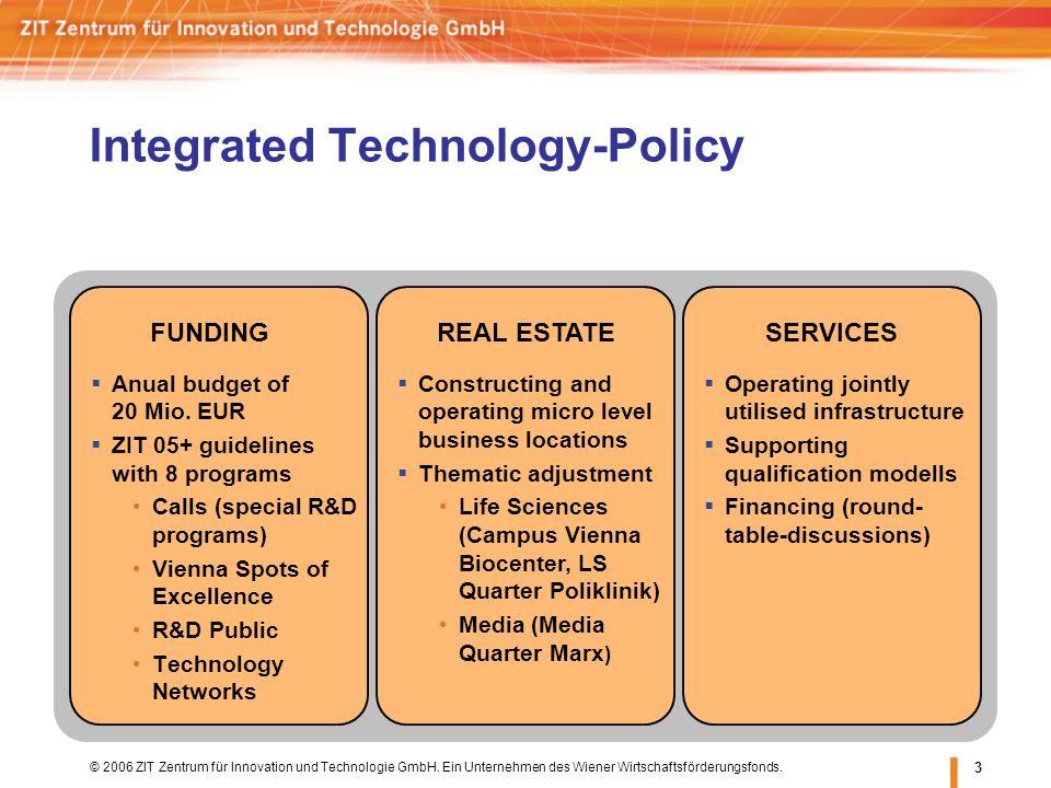 © 2006 ZIT Zentrum für Innovation und Technologie GmbH. Ein Unternehmen des Wiener Wirtschaftsförderungsfonds. 3 Integrated Technology-Policy Anual bu