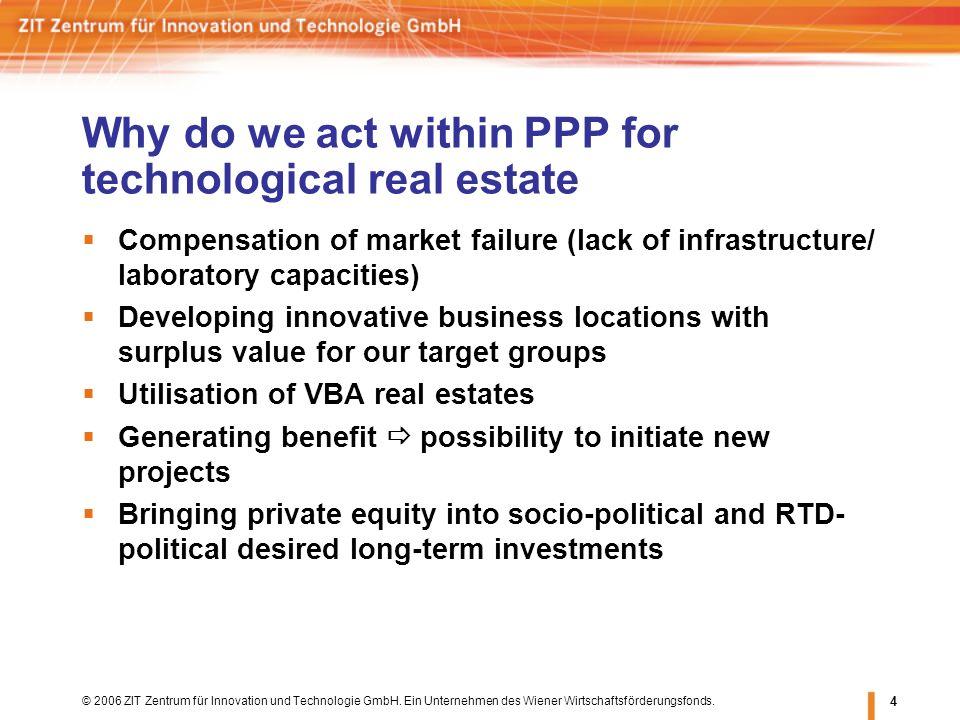 © 2006 ZIT Zentrum für Innovation und Technologie GmbH. Ein Unternehmen des Wiener Wirtschaftsförderungsfonds. 4 Why do we act within PPP for technolo