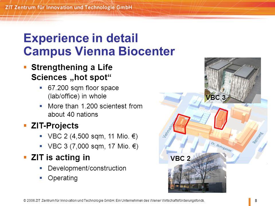 © 2006 ZIT Zentrum für Innovation und Technologie GmbH. Ein Unternehmen des Wiener Wirtschaftsförderungsfonds. 8 Experience in detail Campus Vienna Bi