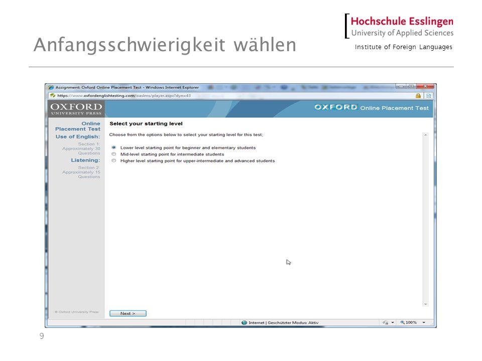 Institute of Foreign Languages 9 Anfangsschwierigkeit wählen