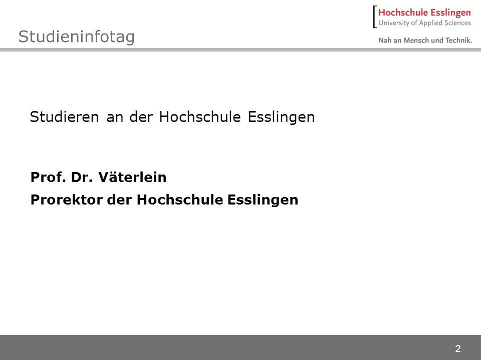 3 Wo bin ich? Hochschule Esslingen Schule Zukunft