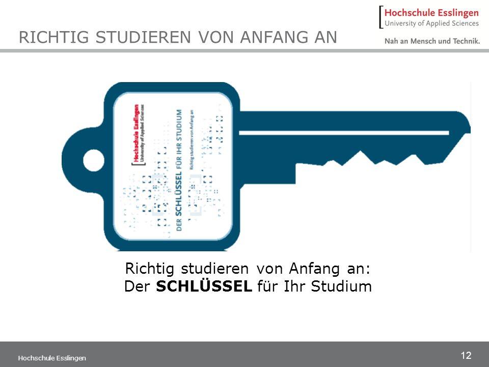 12 Hochschule Esslingen RICHTIG STUDIEREN VON ANFANG AN Richtig studieren von Anfang an: Der SCHLÜSSEL für Ihr Studium