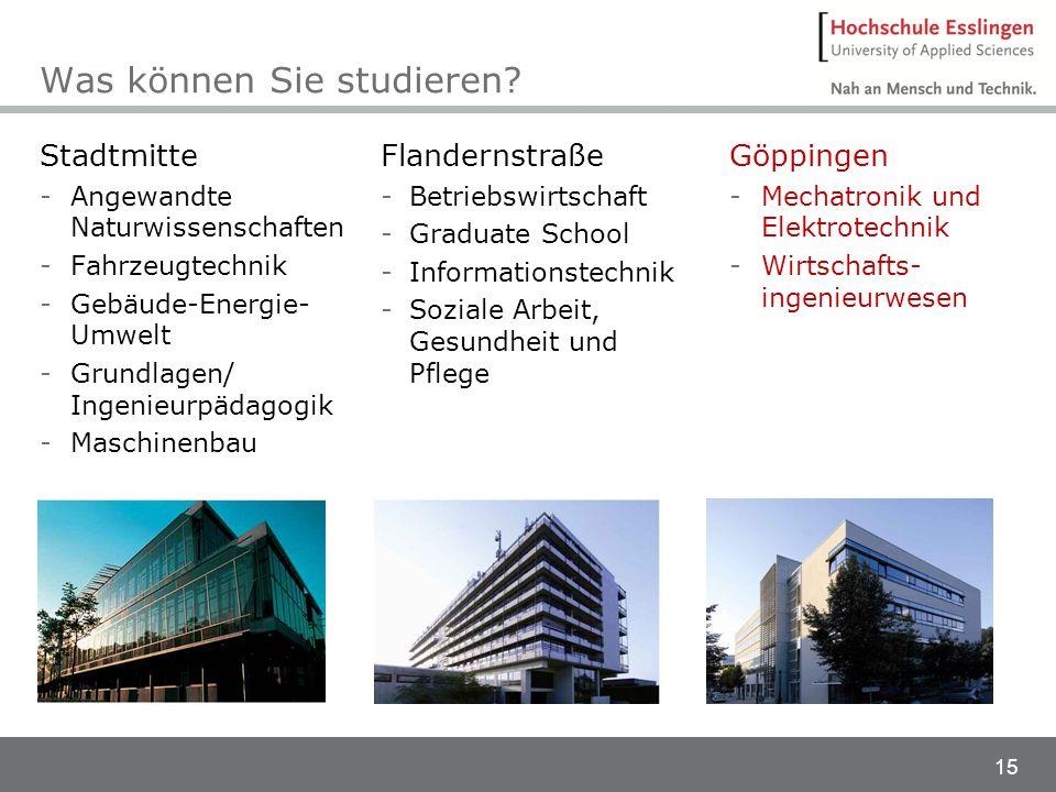 15 Was können Sie studieren? Stadtmitte -Angewandte Naturwissenschaften -Fahrzeugtechnik -Gebäude-Energie- Umwelt -Grundlagen/ Ingenieurpädagogik -Mas