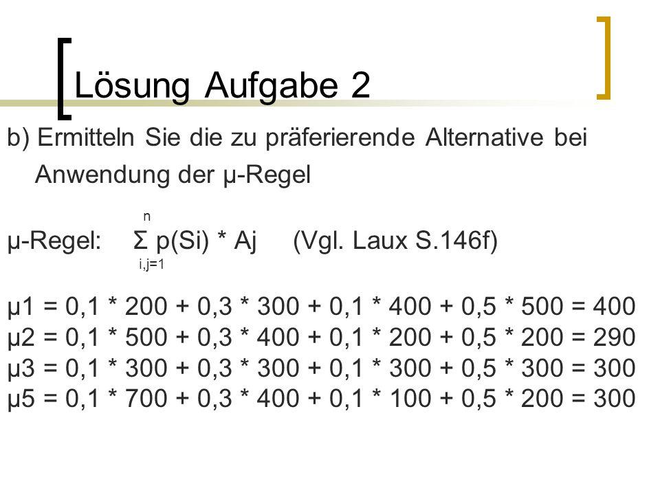 Lösung Aufgabe 2 b) Ermitteln Sie die zu präferierende Alternative bei Anwendung der µ-Regel n µ-Regel: Σ p(Si) * Aj (Vgl. Laux S.146f) i,j=1 µ1 = 0,1