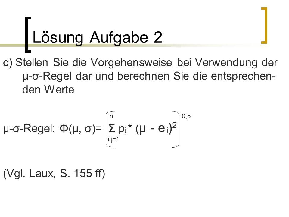 Lösung Aufgabe 2 c) Stellen Sie die Vorgehensweise bei Verwendung der µ-σ-Regel dar und berechnen Sie die entsprechen- den Werte n 0,5 µ-σ-Regel: Φ(µ,