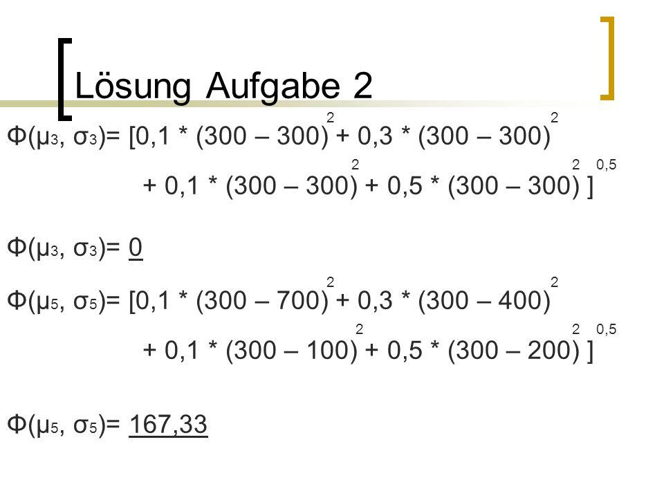 Lösung Aufgabe 2 2 2 Φ(µ 3, σ 3 )= [0,1 * (300 – 300) + 0,3 * (300 – 300) 2 2 0,5 + 0,1 * (300 – 300) + 0,5 * (300 – 300) ] Φ(µ 3, σ 3 )= 0 2 2 Φ(µ 5,