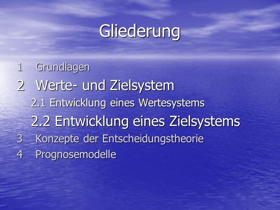 Gliederung 1 Grundlagen 2Werte- und Zielsystem 2.1 Entwicklung eines Wertesystems 2.2 Entwicklung eines Zielsystems 3Konzepte der Entscheidungstheorie