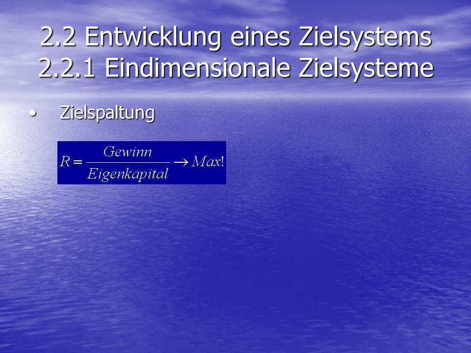 2.2 Entwicklung eines Zielsystems 2.2.1 Eindimensionale Zielsysteme ZielspaltungZielspaltung