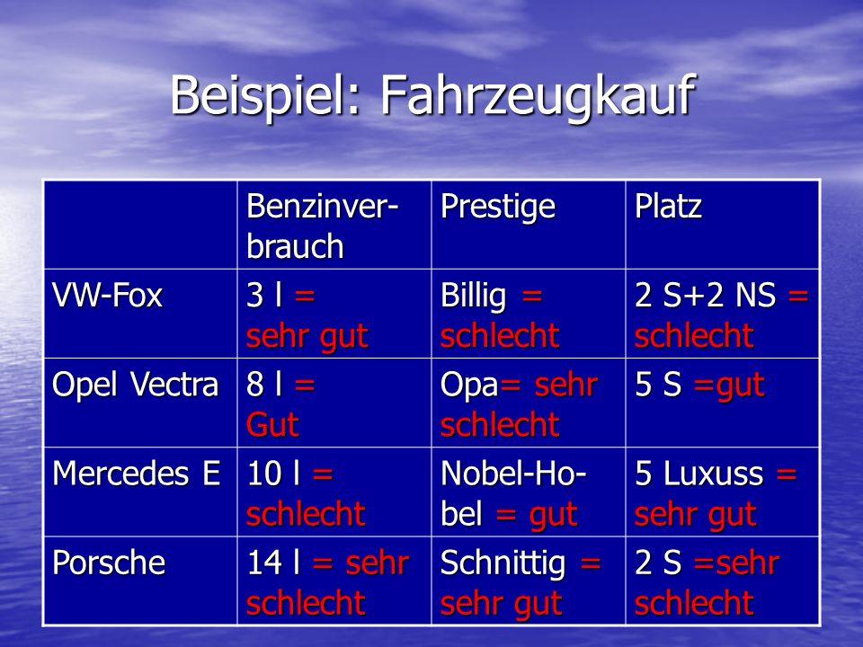 Beispiel: Fahrzeugkauf Benzinver- brauch PrestigePlatz VW-Fox 3 l = sehr gut Billig = schlecht 2 S+2 NS = schlecht Opel Vectra 8 l = Gut Opa= sehr sch
