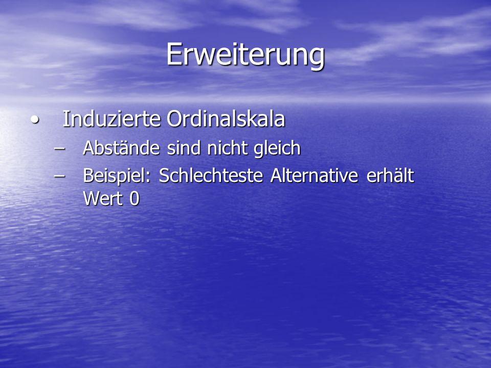 Erweiterung Induzierte OrdinalskalaInduzierte Ordinalskala –Abstände sind nicht gleich –Beispiel: Schlechteste Alternative erhält Wert 0