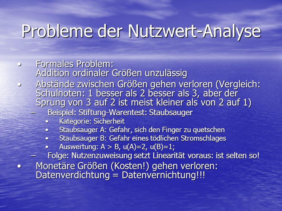 Probleme der Nutzwert-Analyse Formales Problem: Addition ordinaler Größen unzulässigFormales Problem: Addition ordinaler Größen unzulässig Abstände zw