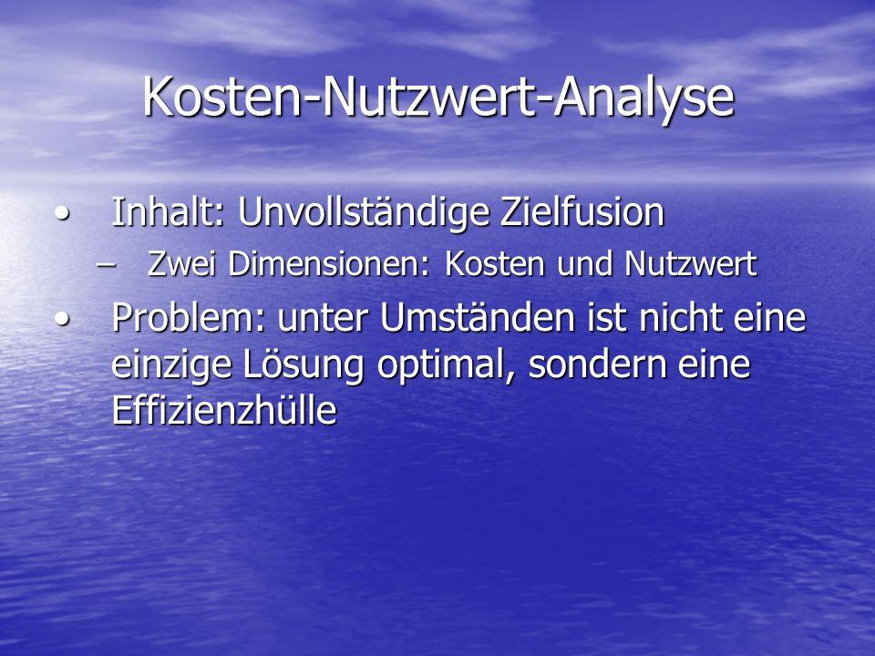 Kosten-Nutzwert-Analyse Inhalt: Unvollständige ZielfusionInhalt: Unvollständige Zielfusion –Zwei Dimensionen: Kosten und Nutzwert Problem: unter Umstä