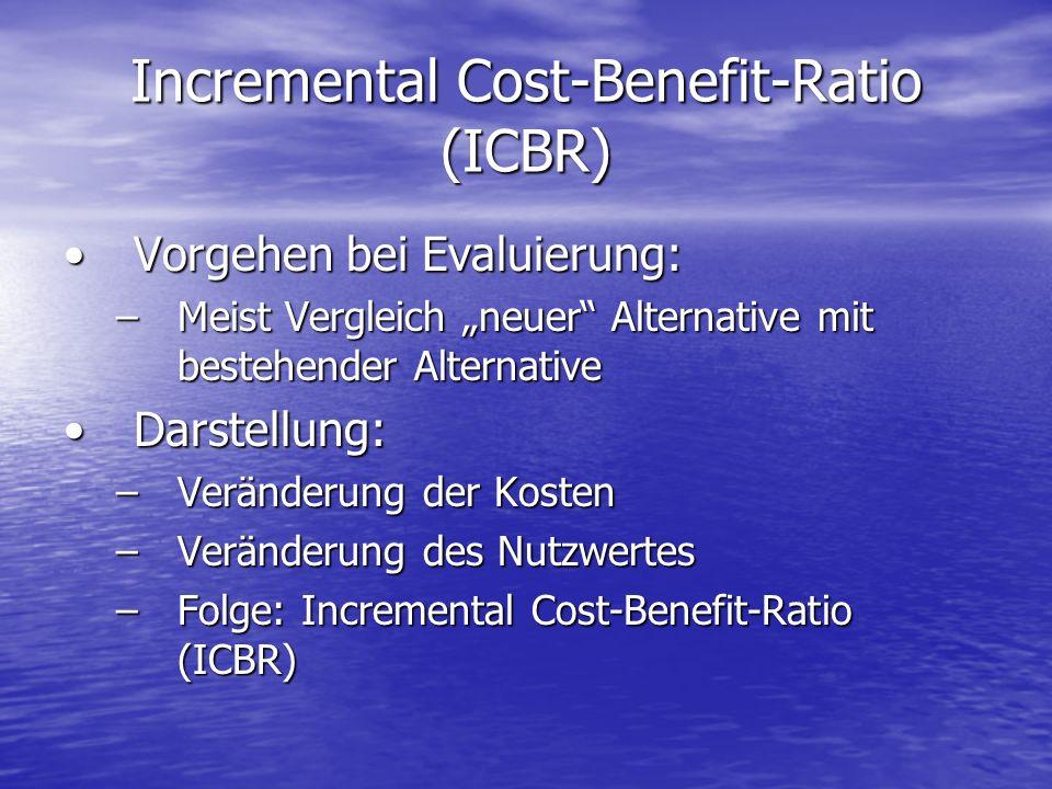 Incremental Cost-Benefit-Ratio (ICBR) Vorgehen bei Evaluierung:Vorgehen bei Evaluierung: –Meist Vergleich neuer Alternative mit bestehender Alternativ