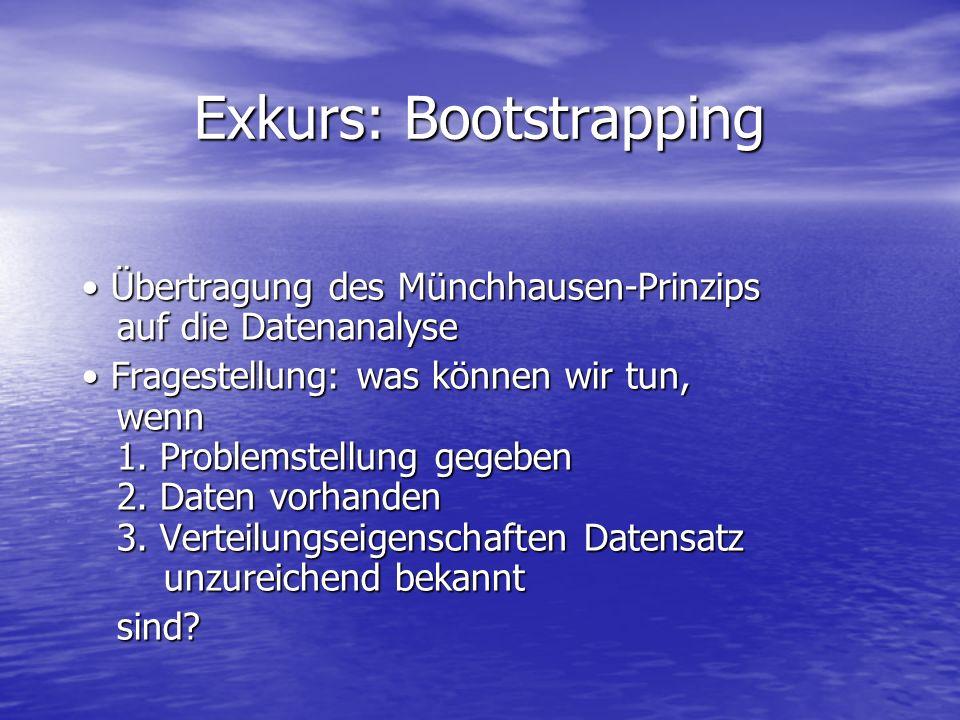 Exkurs: Bootstrapping Übertragung des Münchhausen-Prinzips auf die Datenanalyse Übertragung des Münchhausen-Prinzips auf die Datenanalyse Fragestellun