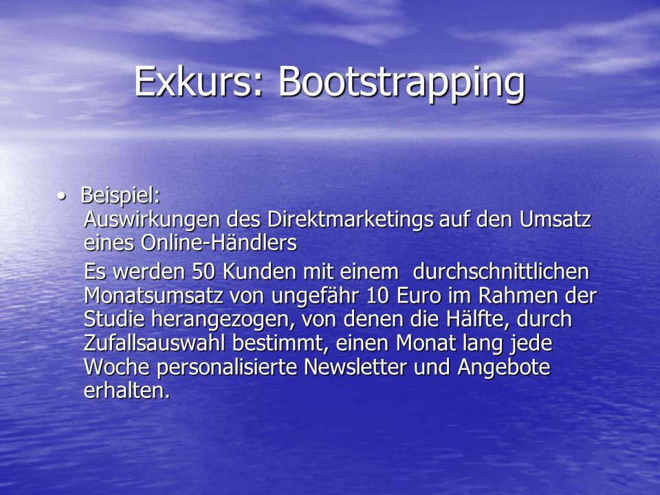 Exkurs: Bootstrapping Beispiel: Auswirkungen des Direktmarketings auf den Umsatz eines Online-Händlers Beispiel: Auswirkungen des Direktmarketings auf