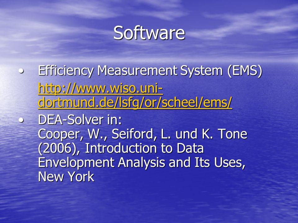 Software Efficiency Measurement System (EMS)Efficiency Measurement System (EMS) http://www.wiso.uni- dortmund.de/lsfg/or/scheel/ems/ http://www.wiso.u
