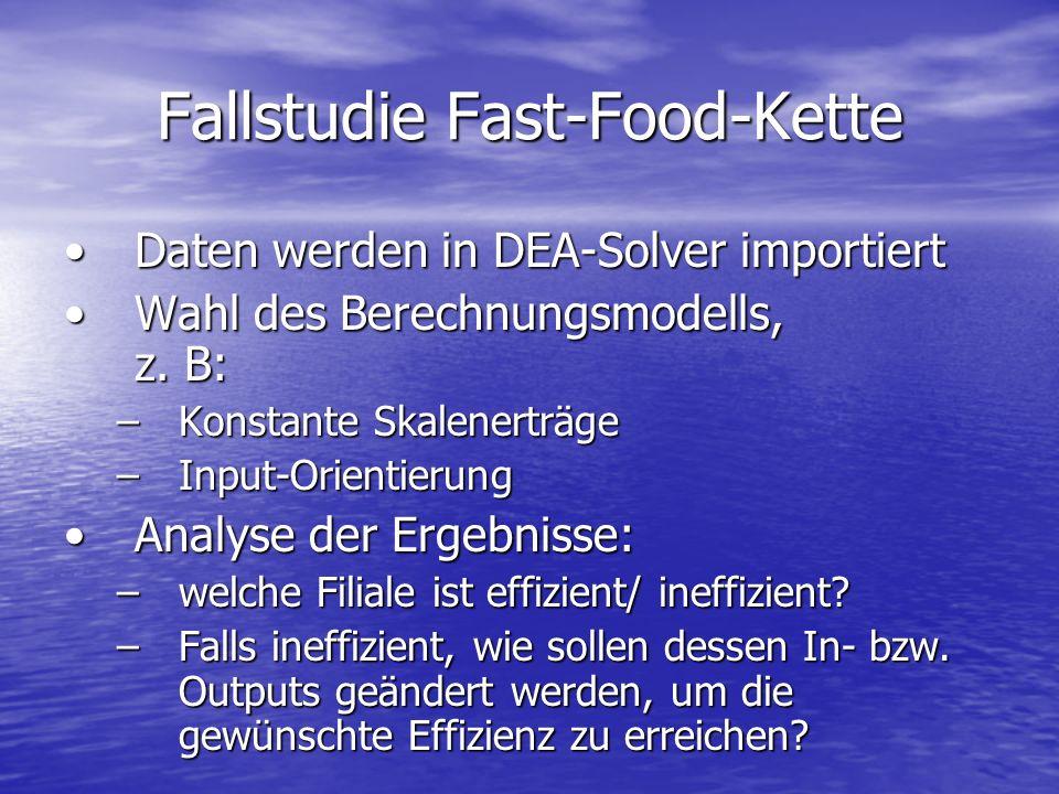 Fallstudie Fast-Food-Kette Daten werden in DEA-Solver importiertDaten werden in DEA-Solver importiert Wahl des Berechnungsmodells, z. B:Wahl des Berec