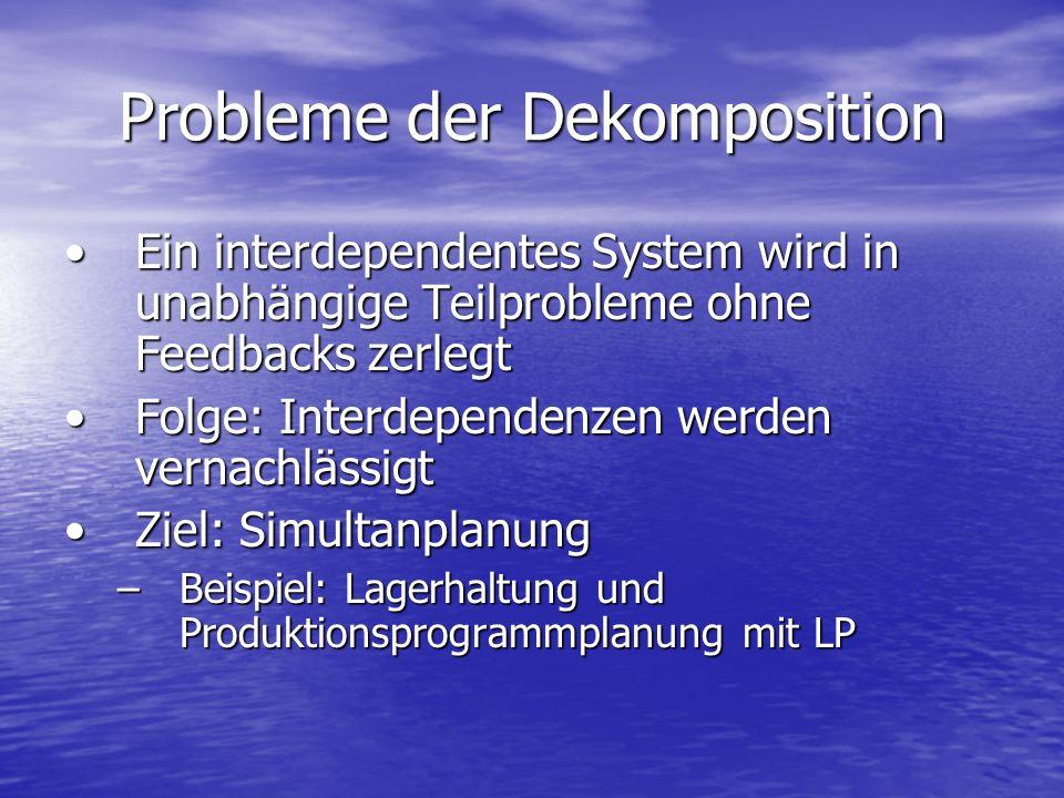 Probleme der Dekomposition Ein interdependentes System wird in unabhängige Teilprobleme ohne Feedbacks zerlegtEin interdependentes System wird in unab